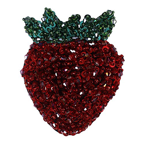 1piece Strawberry Design Rhinestones Patches Beaded Sequins Applique Sew on Patches DIY Craft TH511