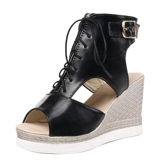 COOLCEPT Damen Freizeit Schnurung Plateau Schuhe Black Size 33 Asian ZJVRlFy9