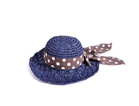 592cb456 Image Unavailable. Image not available for. Color: Women's Straw Hat Sun  Beach Ribbon Hat Navy