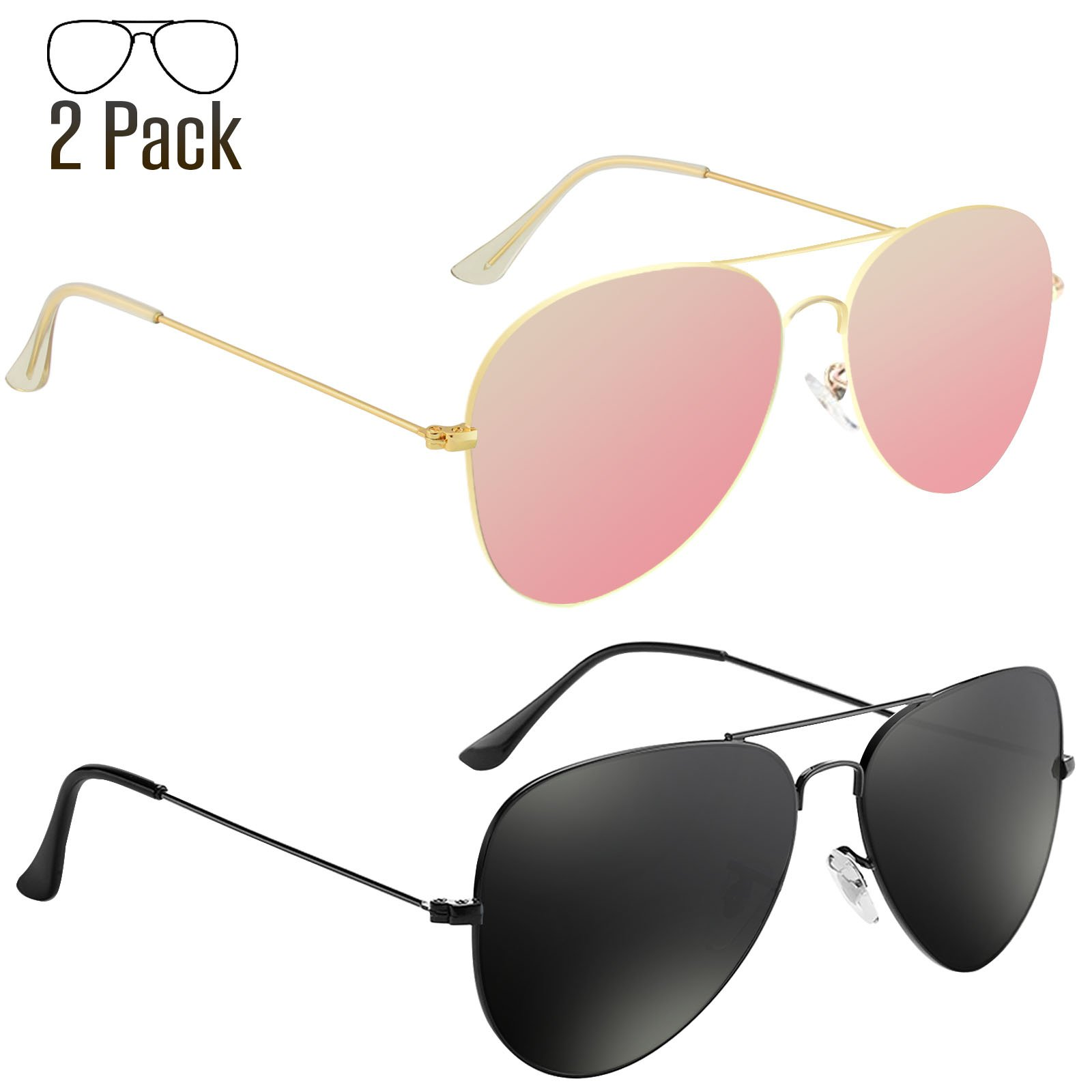 Livhò G Sunglasses for Men Women Aviator Polarized Metal Mirror UV 400 Lens Protection (Black Grey+Sakura powder.) by Livhò