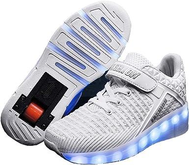 Charmstep Unisex Niños LED Luz Zapatos de Ruedas con USB Recargable Automática Ruedas Patines Al Aire Libre Gimnasia Zapatillas de Ruedas Skateboard para Niñas: Amazon.es: Ropa y accesorios
