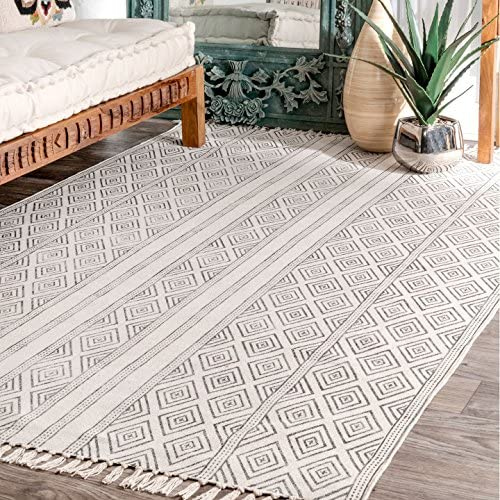 nuLOOM Olvera Flatweave Diamond Area Rug, 8 6 x 11 6 , Off White