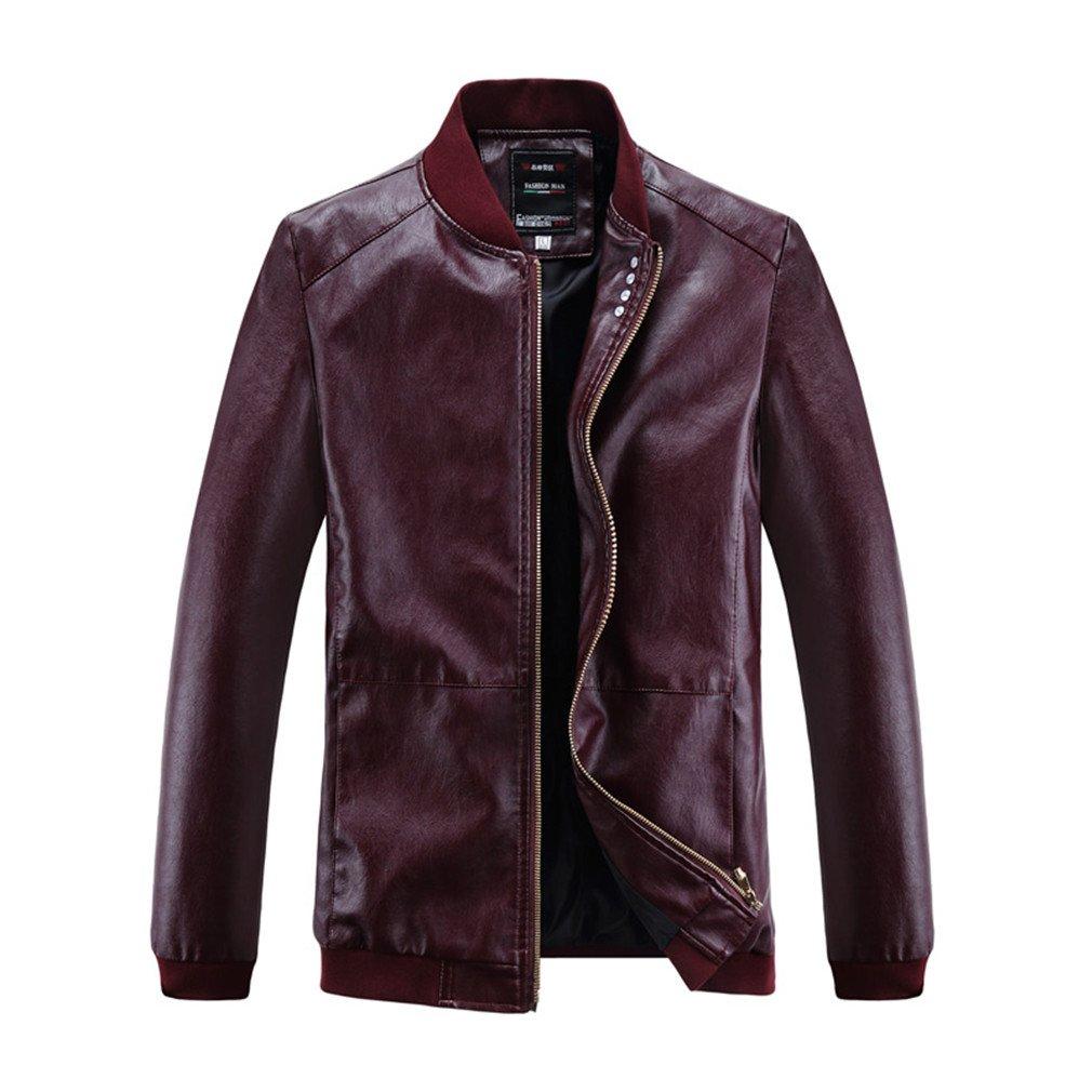 TYWAG PU Motorcycle Leather Jacket Men Warm Punk Clothing Waterproof Casual New Biker Coat at Amazon Mens Clothing store: