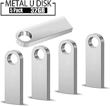 Memorias USB 32 GB,5 Piezas PenDrives Memoria Flash USB 2.0 JUYUKEJI Mini Unidad Flash Unidad de Memoria USB Resistente al Agua con Carcasa de Metal, Plateada (32GB * 5): Amazon.es: Electrónica