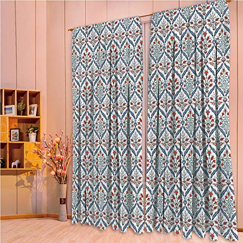 - ZHICASSIESOPHIER Finel Kids Curtains for Living Room Bedroom Window Curtains Baby Room Lovely Children Curtains Drapes,Ceramic Tulip Patterns with Cultural Ottoman 108Wx84L Inch