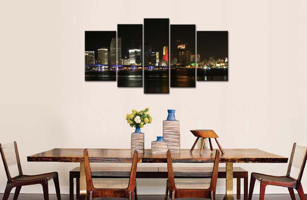 Amazon 5 Piece Wall Art Painting Miami With Blue Bridge And High Rise Building Pictures Prints On Canvas City The Picture Decor Oil For Home Modern