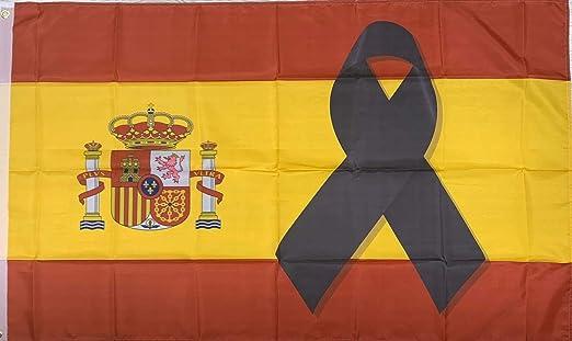 Bandera España Lazo Negro 90x150cm: Amazon.es: Hogar