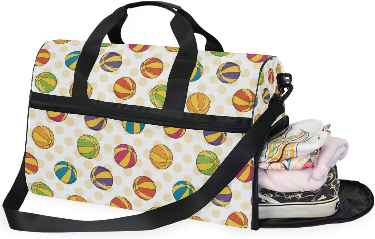 AHOMY Summer Beach Ball Sports Gym Bag with Shoes Compartment Travel Duffel Bag