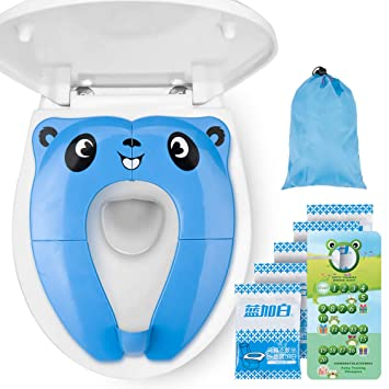 Folding Travel Potty Seat for Toddler Baby and Kids Recyclable Non-Slip Silicone Pads Toilet Training Seat Cover Portable Potty Seat with Splash Guard for Boys Blue