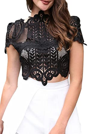 a83c5336c90d Simplee Women's Short Sleeve Sheer Mesh Floral Lace Crochet Crop Top Sexy  Scallop Blouse Black 0