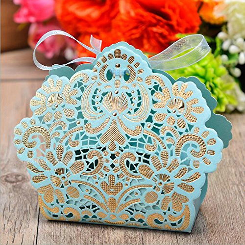 Zorpia 50 Pack Romantic Wedding Gift Box Decoration Flower Bride Laser Cut Party Sweet Favors Wedding Paper Candy Box (Blue)