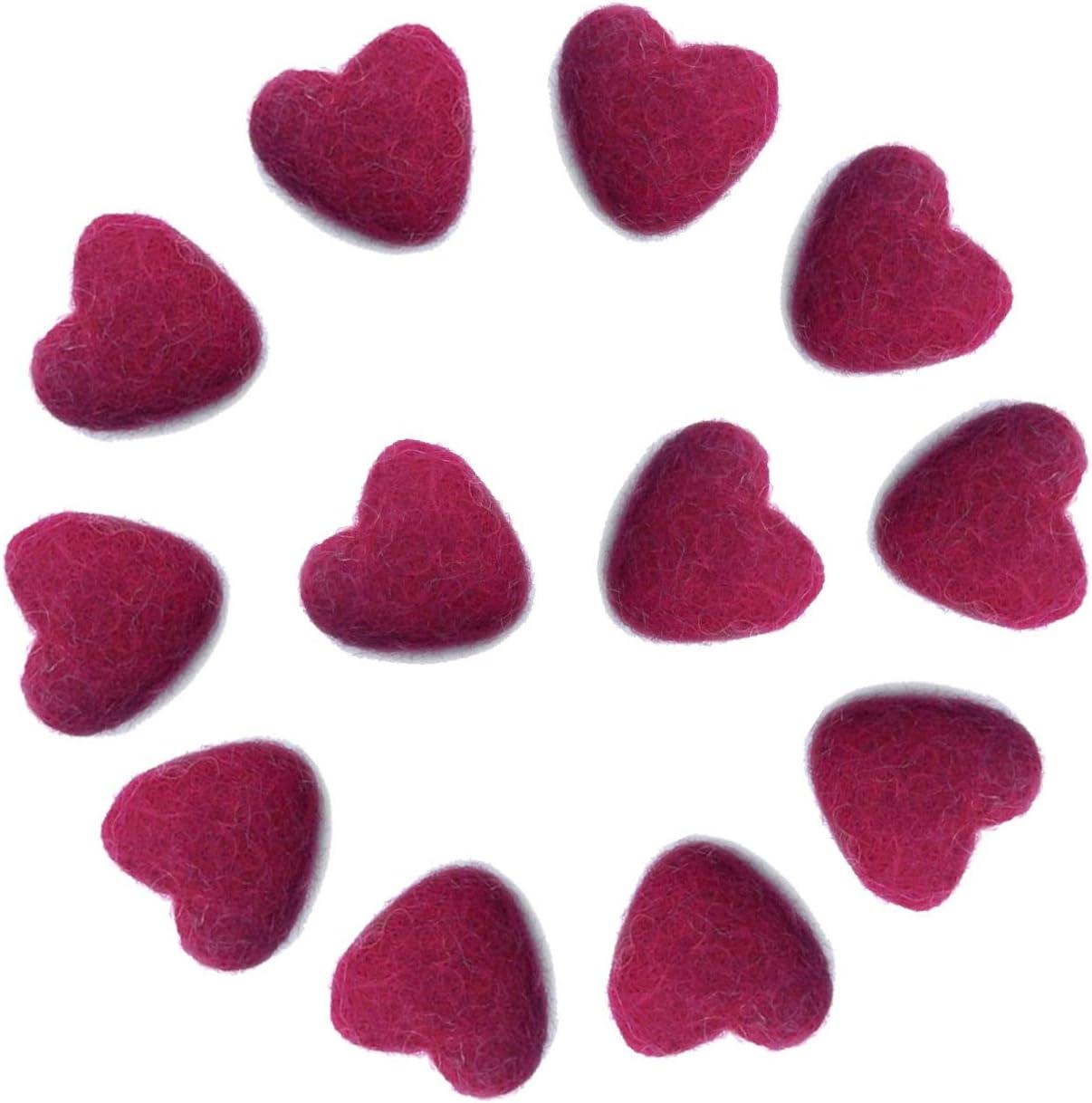 3cm 30mm Heart Shape Wool Felt Balls Beads 100% Natural Wool Felting Woolen Felted Fabric for Home Decor Dream Catcher DIY Baby-Mobile Garland Crafts Handcrafts Project DIY (Wine Red 12pcs)