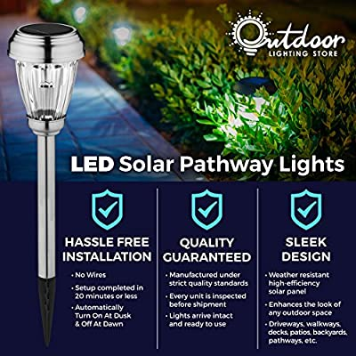 Set of 6 Solar Path Lights, Low Voltage, Wireless LED Solar Pathway Lights for Lawns, Gardens, Yards, Patios, & more; Stainless Steel Pathway Lights to Brighten & Enhance the Look of Any Outdoor Space