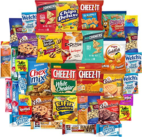 Care Package Ultimate Sampler Bars, Cookies, Chips, Candy, Snacks Box for Office, Meetings, Schools, Friends & Family, Military, College, Variety Fun Pack (40 (Custom Candy Bar)