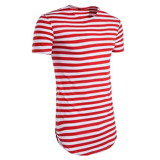 Sharplace Blusa Rayado Básico Verano Plisado Hermoso Actividades de Primavera Verano Ropa Hombre Camisa Deportiva -