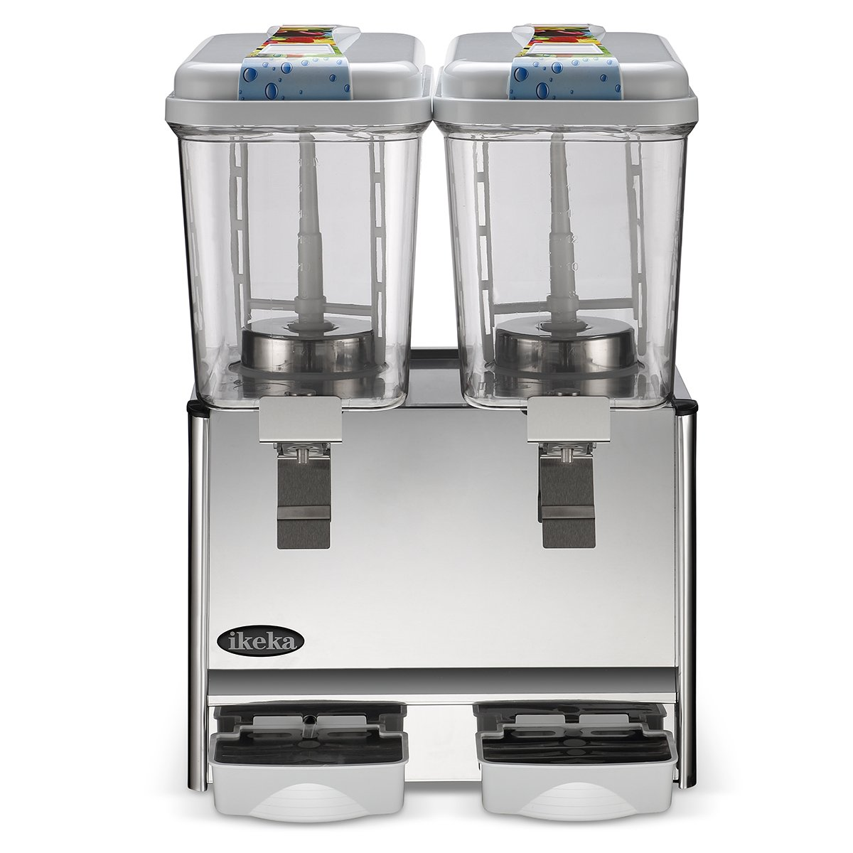 IKEKA 9.5 Gallon Commercial Juice Dispenser, Automatic Cold Drink Beverage Machine, Stainless Steel Cold Beverage Dispenser with 2 Tanks, 4.75 Gallon Per Tank, 300W