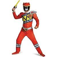 Disguise Disfraz del Power Ranger Rojo Dino Charge con Músculos, Un Solo Color, Mediano (7-8)