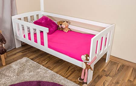Toddler Bed A17 Solid Pine Wood White Finish With Slats Mattress And