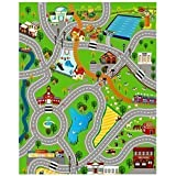 GIANT KIDS CHILDRENS CITY PLAYMAT FUN TOWN CARS PLAY VILLAGE FARM ROAD CARPET RUG TOY MAT