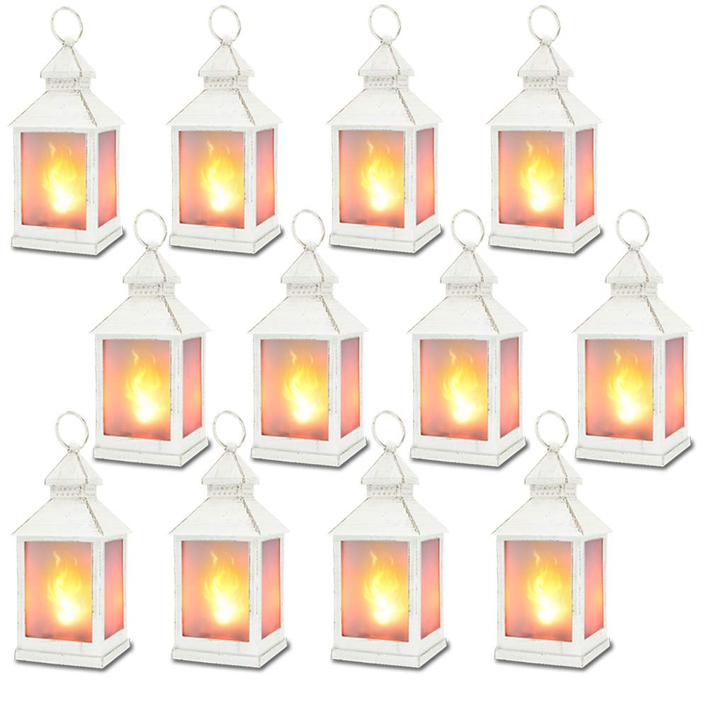 11'' Vintage Style Decorative Lantern with 36pcs Flickering LEDS,(White,4 Hours Timer) Flame Effect Lantern, Indoor Lanterns Decorative,Outdoor Hanging Lantern,Decorative Candle Lantern ZKEE(Set Of 12)