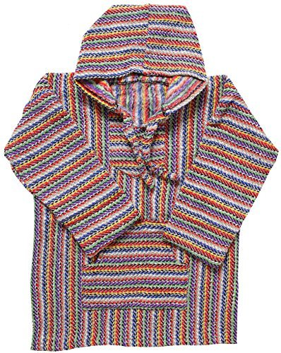 (El Paso Designs Mexican Style Baja Hoodie Pullover Poncho - for Men & Women (Gray Rainbow, X-Large))