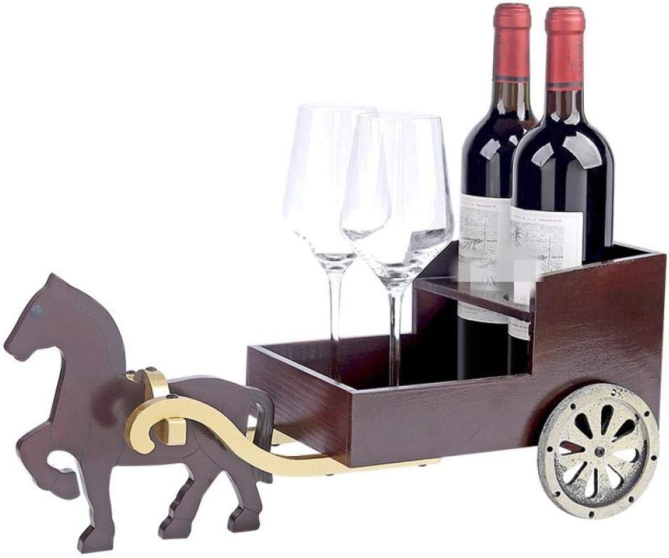 Chino Retro artesanía de Madera decoración Caballo Dibujado Carro Estante del Vino Creativo hogar Vino gabinete Bar Estante del Vino
