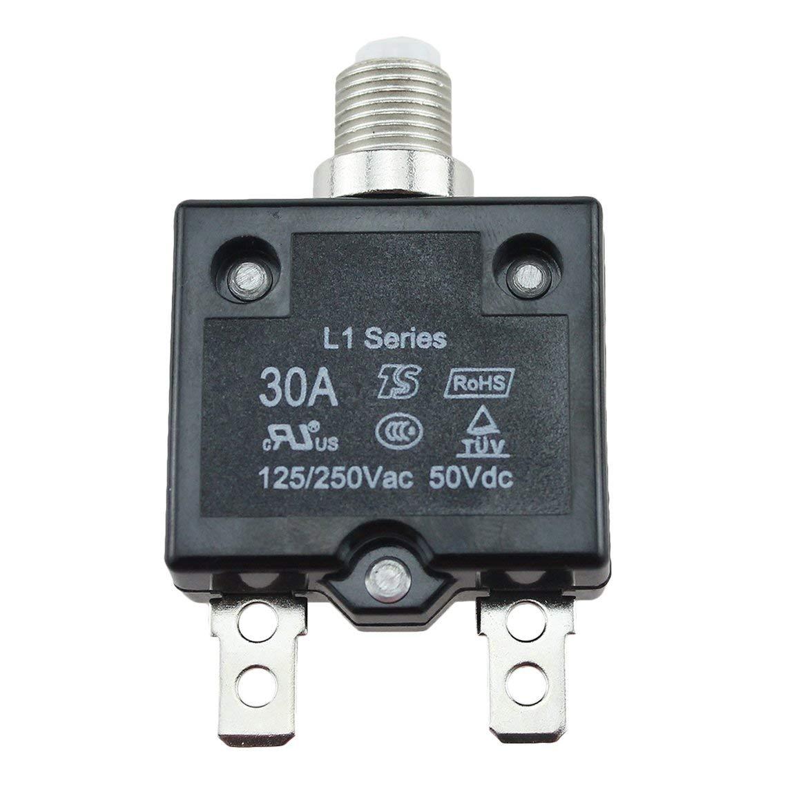 Funnyrunstore 5A 15A 20A 30A Disyuntor a prueba de agua Bot/ón pulsador de restauraci/ón de fusibles t/érmicos Disyuntor Montaje en panel 5A 10A