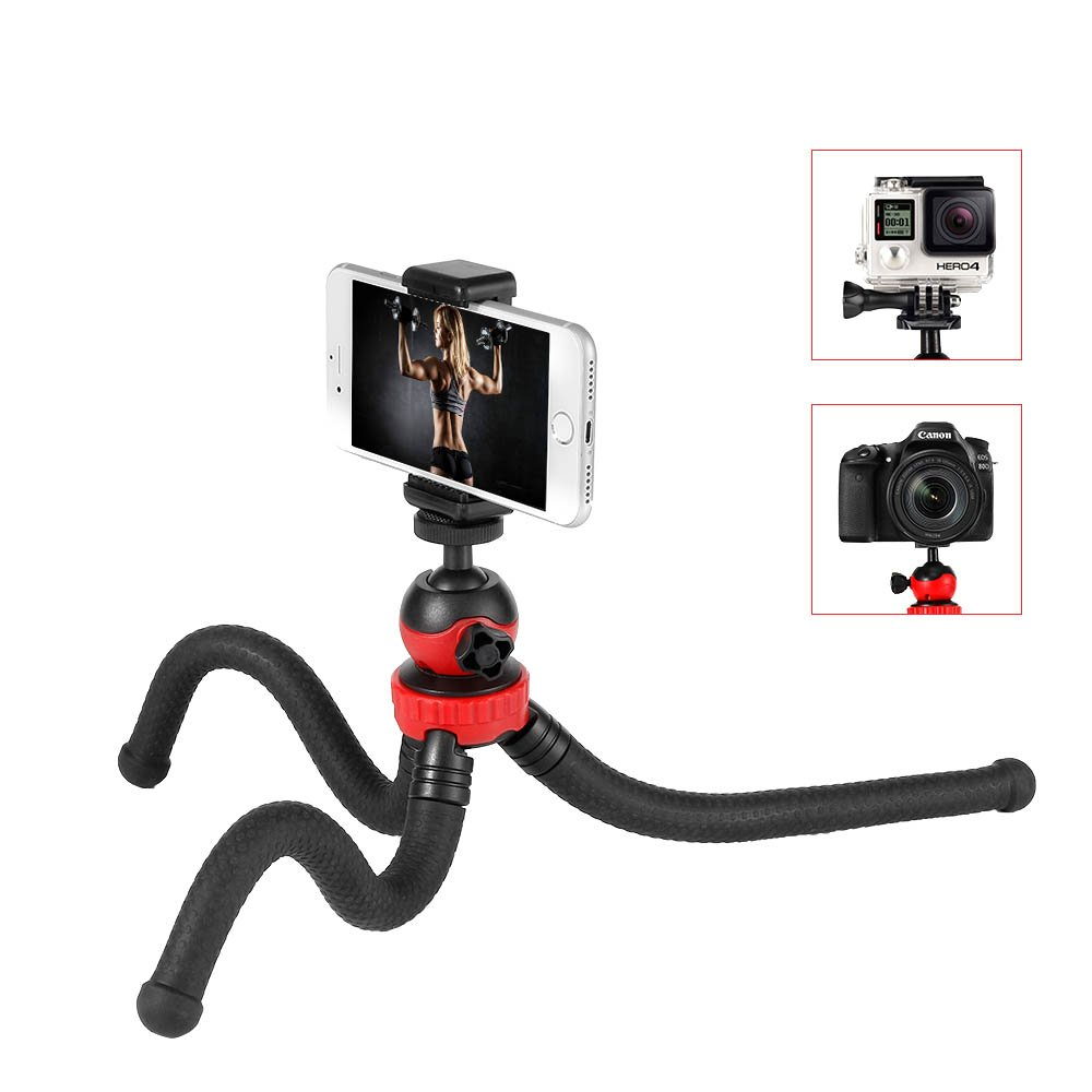 Moreslan Camera Phone Tripod Flexible Tripod, Adjustable Travel Phone Tripod Stand Holder with Cell Phone Holder Clip for Gopro, DSLR, SLR, Canon, Nikon, Sony, iPhone, Android Smartphone