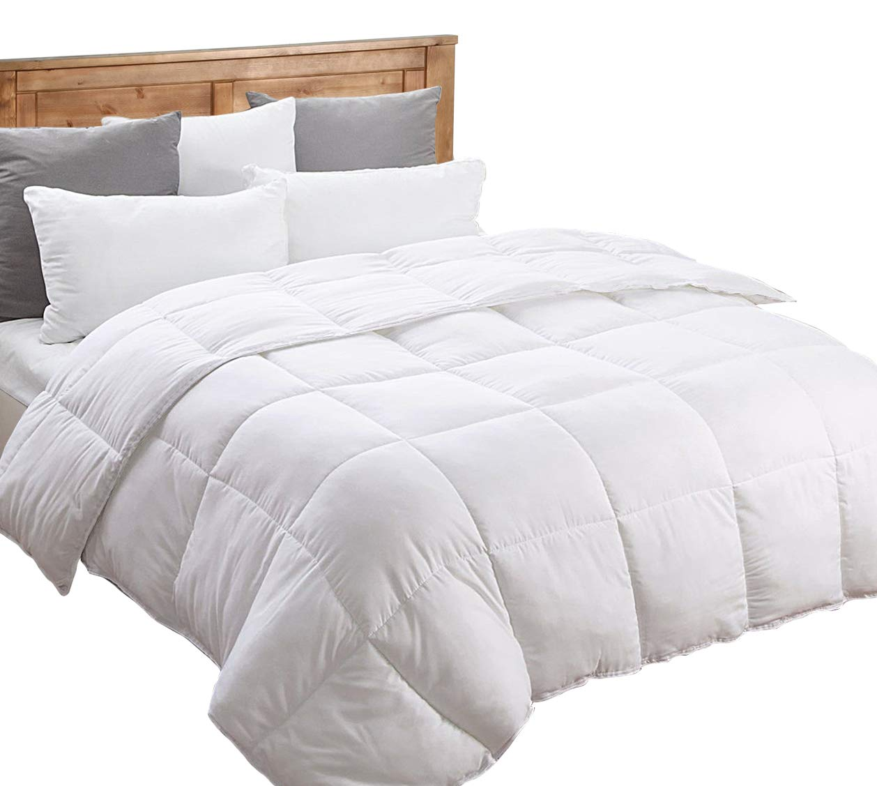 Queen Comforter Set (White, Queen) Duvet Insert Grey- Down Alternative Comforter, Hypoallergenic, Plush Siliconized Fiberfill, Box Stitched, Protects Against Dust (Full/Queen 88-by-88 inch,White)