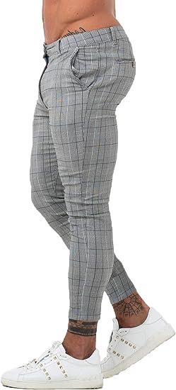 Gingtto Chinos Pantalones De Vestir Ajustados Para Hombre Con Parte Delantera Plana A Cuadros Color Gris Amazon Com Mx Ropa Zapatos Y Accesorios