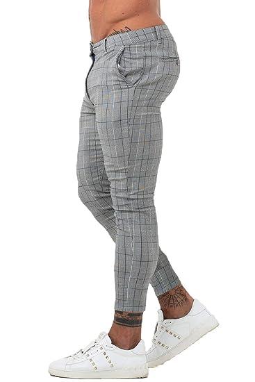 d16b7483 GINGTTO Mens Chinos Slim Fit Stretch Flat-Front Skinny Dress Pants Grey  Plaid
