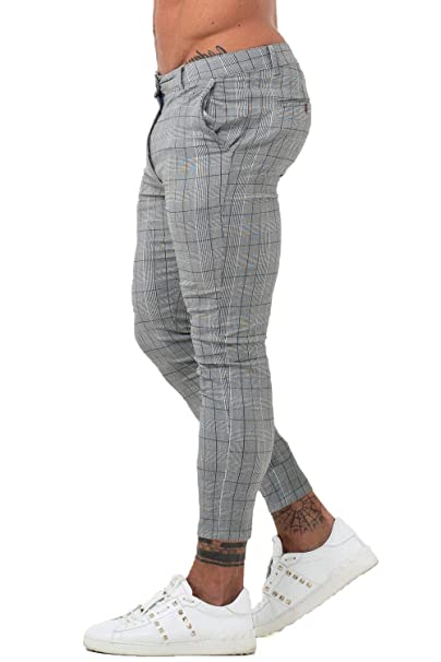 many fashionable running shoes latest style Gingtto Mens Chinos Slim Fit Stretch Flat-Front Skinny Dress Pants Grey  Plaid