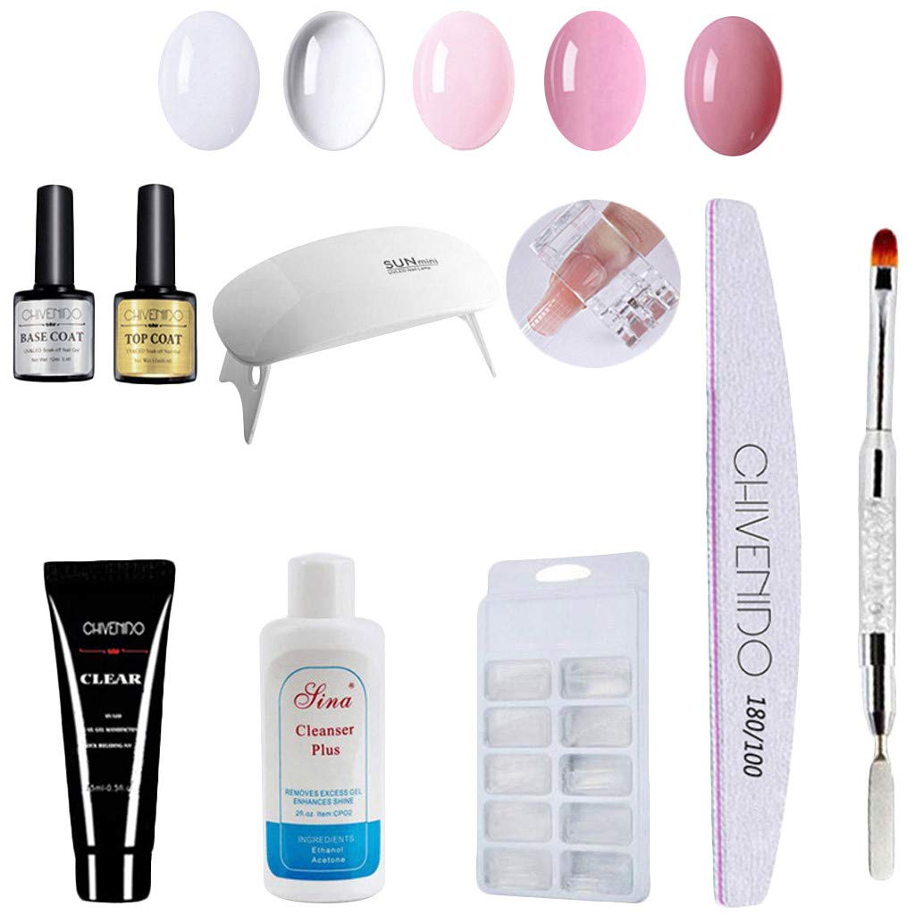 Gel Nail Polish Starter Kit with Portable Nail Dryer - Nail Art Crystal Extension Gel Manicure Quick Dry Multicolor Extension Gel Manicure 5 Color Sets,Top and Base Coat (Nail Art, White) by Dacawins