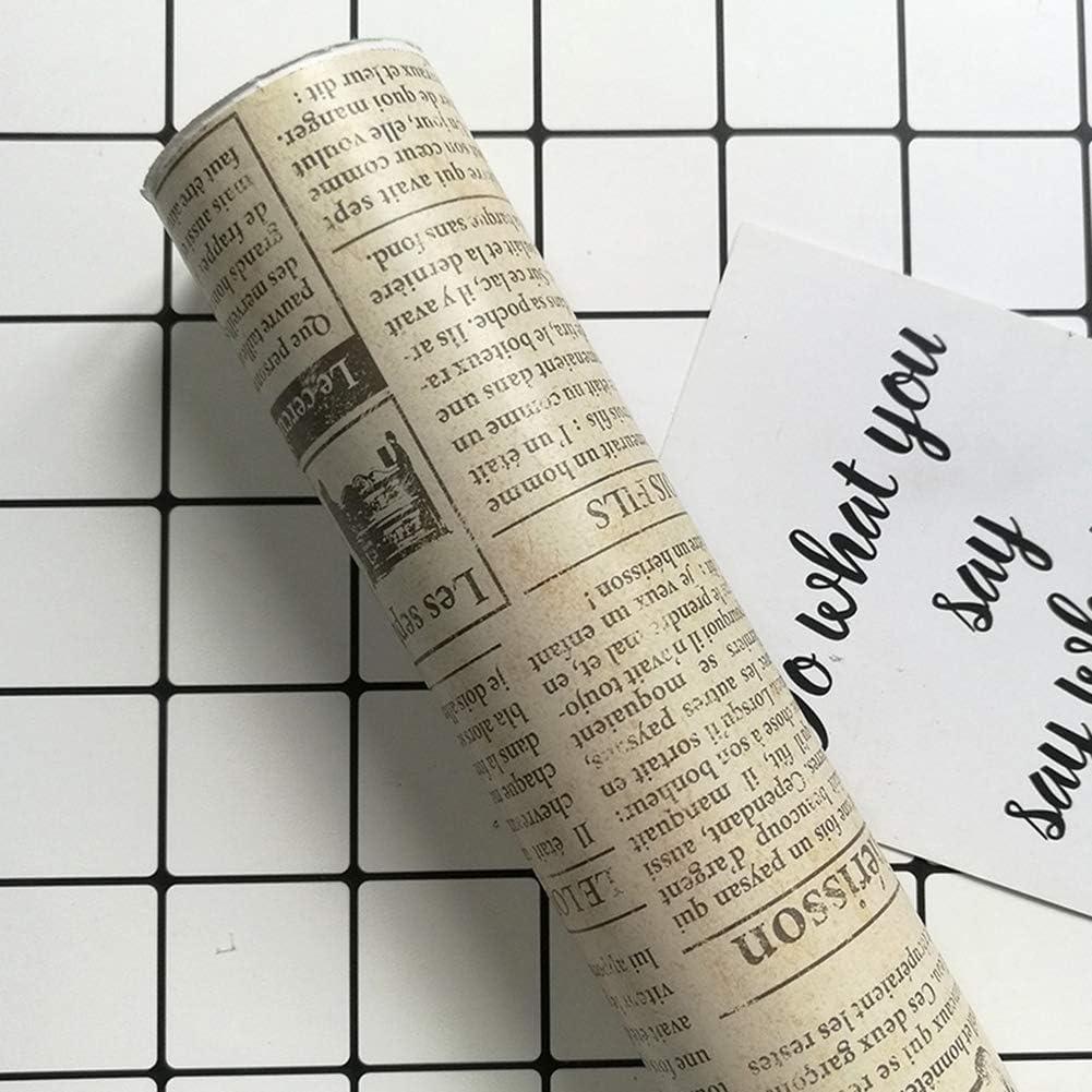 Papel Pintado De Pared Lateral Autoadhesivo Estilo Retro Patr/ón De Peri/ódico Impermeable Papel De Contacto Decoraci/ón Del Hogar,A,45cm/×10m