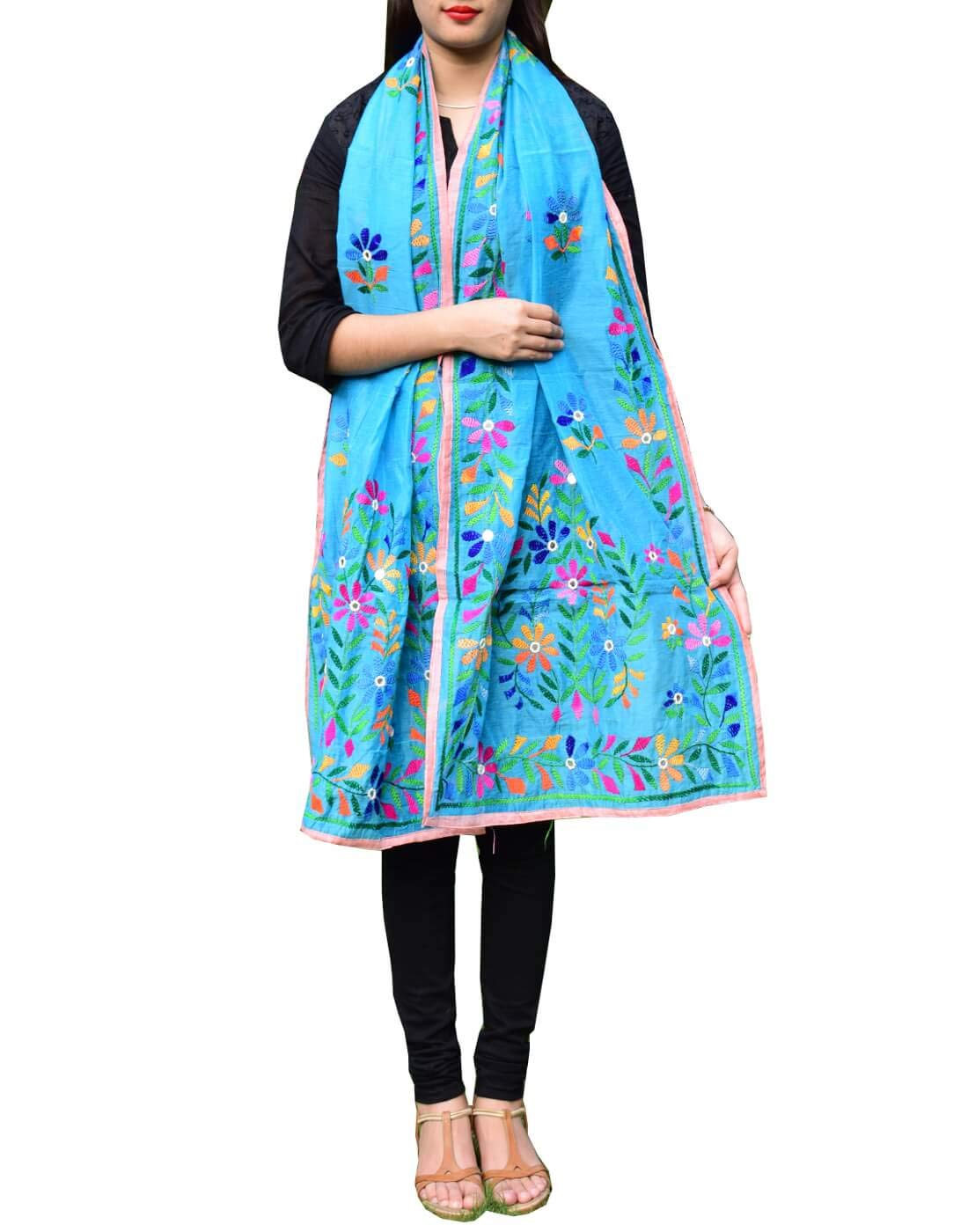 GiftPiper Chanderi Hand Embroidered Stole-Turquoise 3