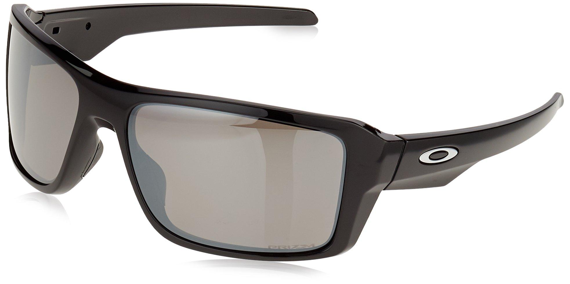 Oakley Men's Double Edge Polarized Iridium Rectangular Sunglasses, POLISHED BLACK, 66.03 mm