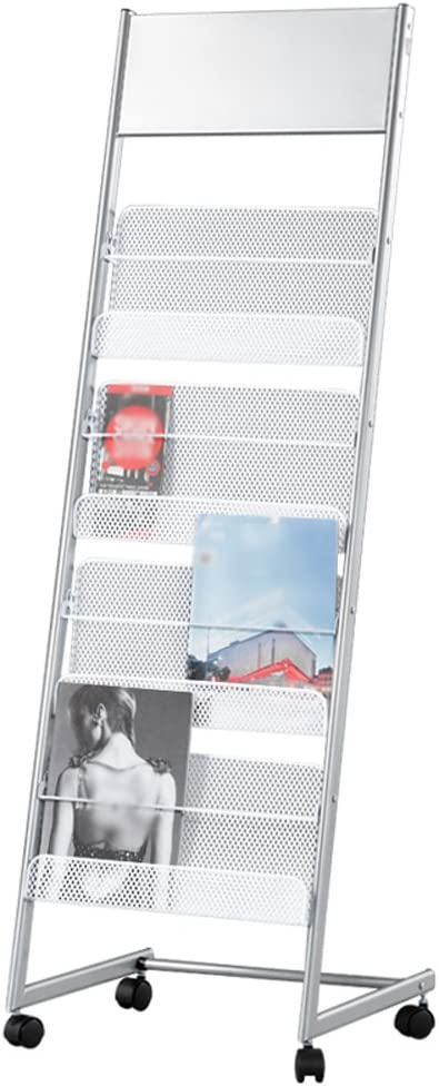 Size : 2# YAN JUNau Simple Landing Show Magazine Shelves Iron Newspaper Stand Office Home Silver White