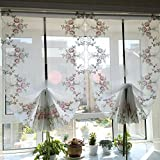 HOLY HOME Fan-Shaped Balloon Shades Pink Voile Embroidery Rose Flowers Drawstring Pull-up Jabots Sheer Panels Cloth Art Home Décor 33 45 inches
