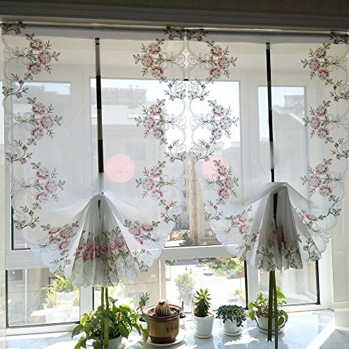 HOLY HOME Fan-Shaped Balloon Shades Pink Voile Embroidery Rose Flowers Drawstring Pull-up Jabots Sheer Panels Cloth Art Home Décor 33 45 inches by HOLY HOME