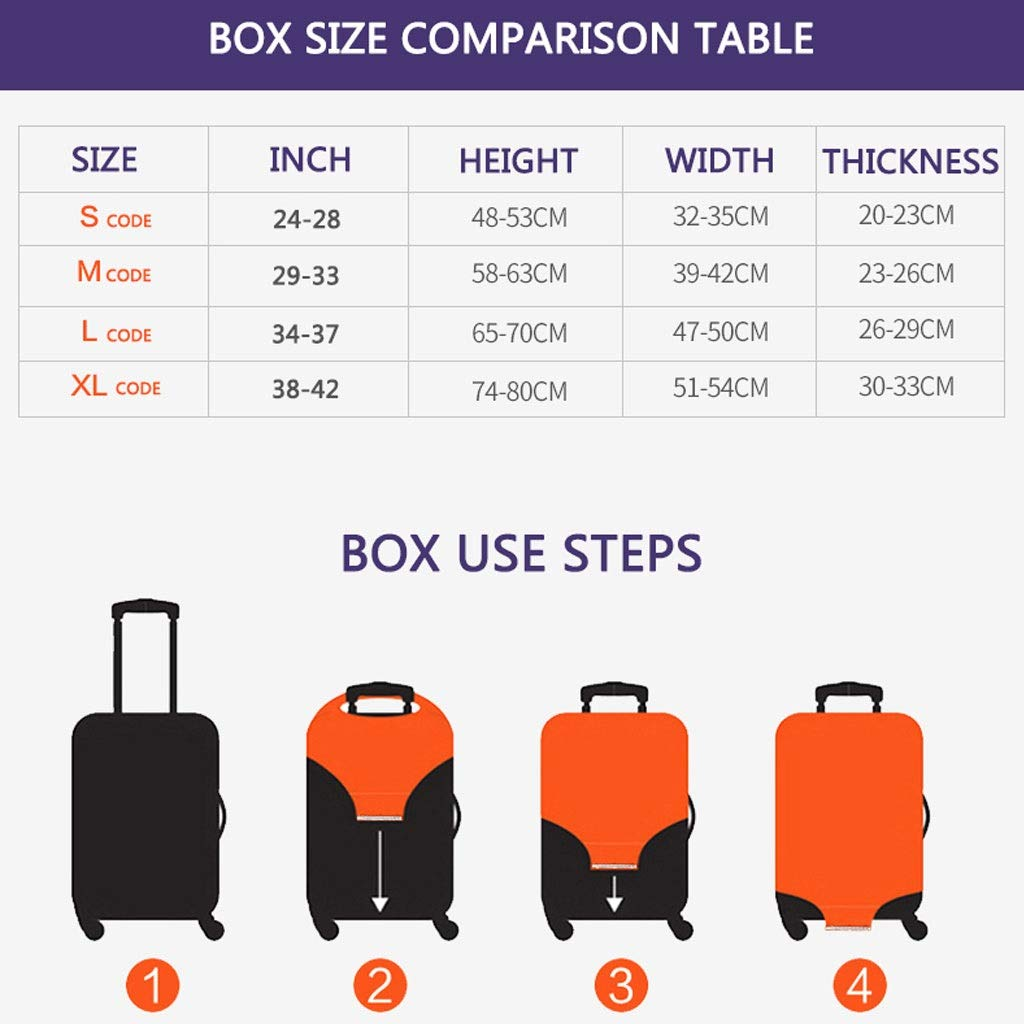 Size : S Trolley case Suitcase Cover It Has No Bad Smell Dustproof Wear-Resistant Non-Slip Four Seasons Available Spandex Suitcase Protector for 24-42 inch Elastic Stretch-Lucky Cat