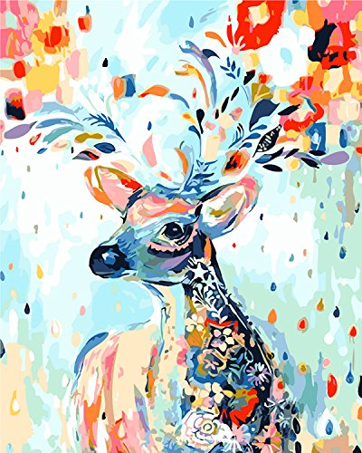LOSTART [Framed] Diy Oil Painting,Paint by Numbers for Adult kit 16 by 20-Inch (Rainbow - Deer Paint