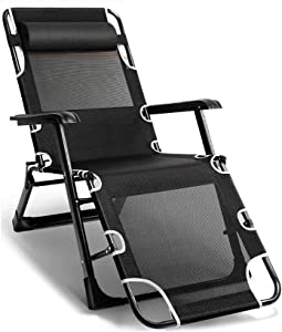 HTL Comfortable and Stable Heavy Duty Sun Lounger Chair Foldable Zero Gravity, Recliner Reclining Chairs Waterproof Chaise Lounge Deckchairs Metal for Garden Patio Niture Outdoor Office,Black