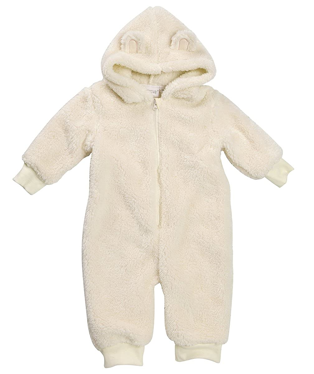 Baby Girls Fluffy All in One Snuggle Onesie Newborn up to 12 mths Pink or Cream