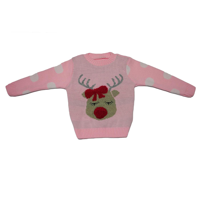 Miss Trendy Novelty Kids Childrens Christmas Knitted Jumper Baby Reindeer Girls Sweater