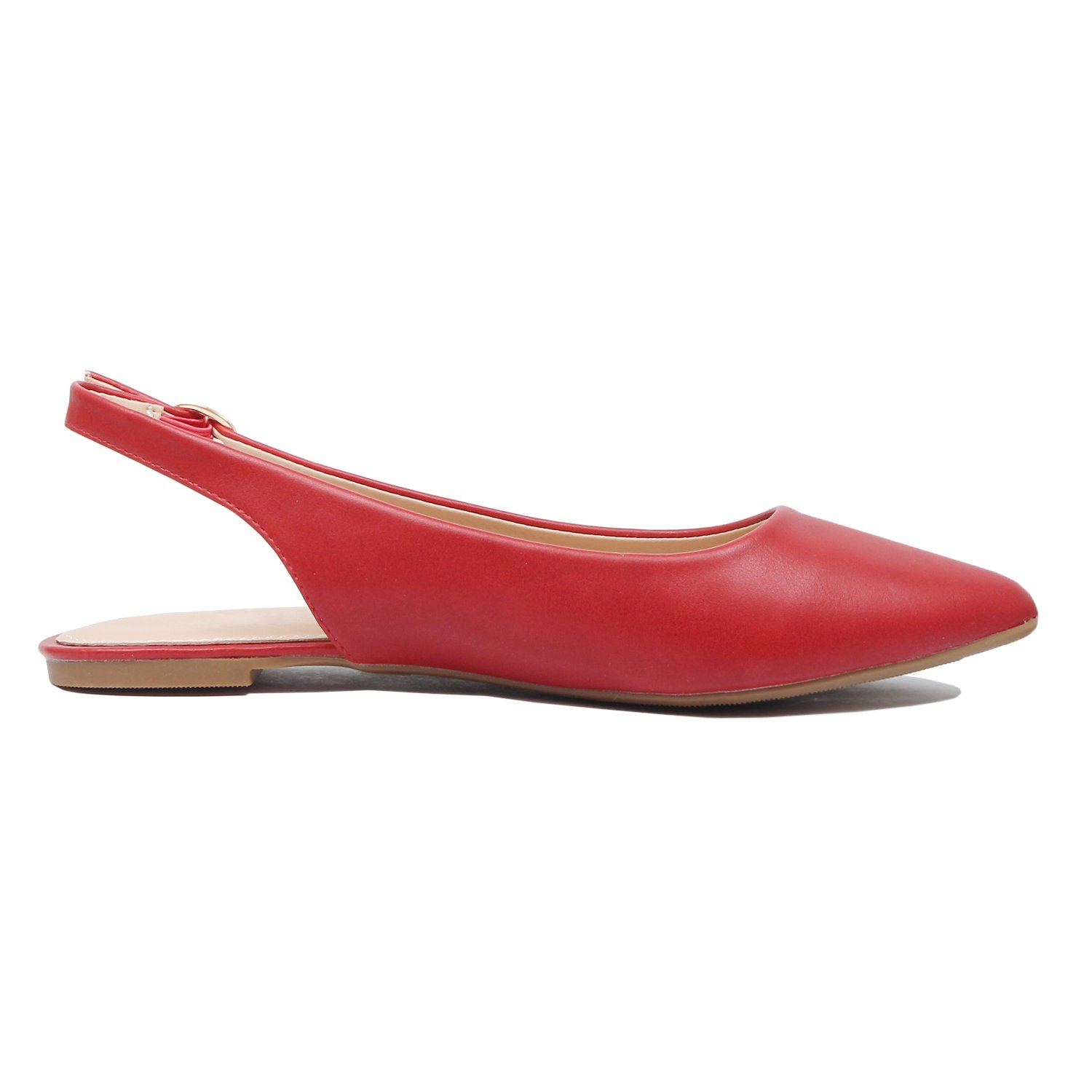 Guilty Heart - Womens Pointy Toe Slingback Buckle Comfortable Casual Dressy Flats (8.5 B(M) US, Red Pu) by Guilty Heart (Image #4)