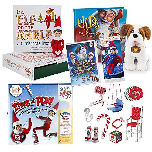 The Elf on the Shelf Play Bundle Blue Eye boy Elf, Totally Tubular Snow Set, Elf Pet Saint Bernard, Santa's St. Bernards Save Christmas DVD, Bonus Scout Elves at Play Set