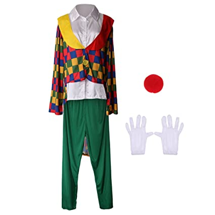 d8217f09f1a1a Buy Ashu Supply Novelty Clown Costume Comedy Grids Adult Outfit Nose ...