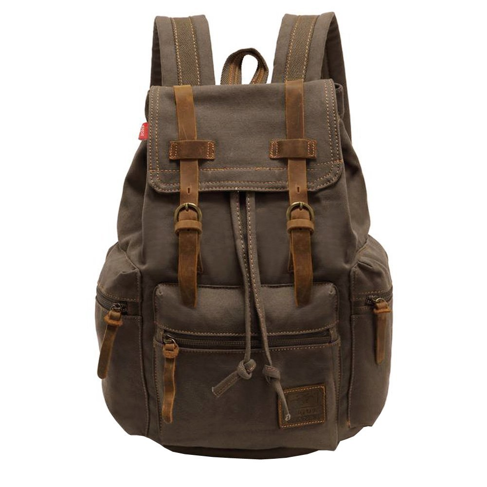 Canvas Backpack, P.KU.VDSL-AUGUR SERIES Knapsack Rucksack Hiking Mountaineering Daypacks Retro for Men (Army Green) BC23680