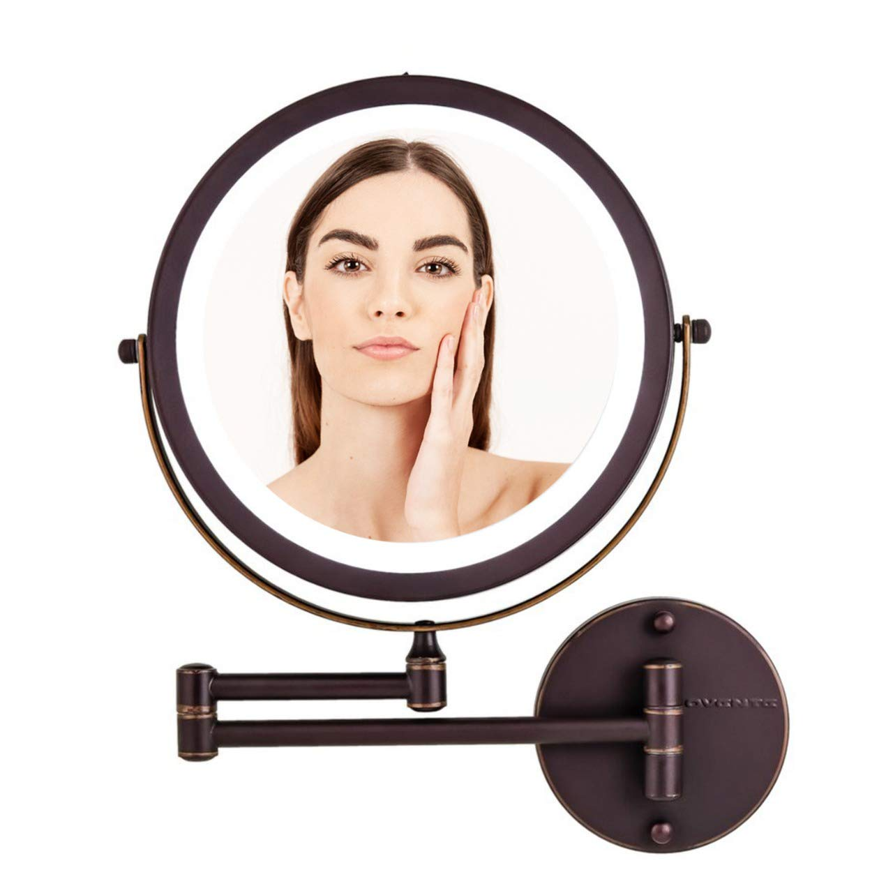 """OVENTE Wall Mount Mirror, 1×/10× Magnification, LED Ring Light, 8.5"""", Battery-Operated (MFW85ABZ1X10X)"""