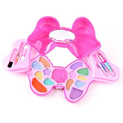 Here Shine Makeup for Little Girls - Girls Real Makeup Kit Cosmetic Set Best Gift Set for Little Girls & Kids Dress-up Play Water-washable CE Approved Age 5+, Pink Bowknot Vanity Case: Toys & Games